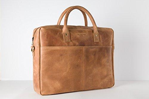 HOLZRICHTER Berlin - Briefcase (M) Premium Aktentasche aus Leder - Elegante große Tragetasche, Laptoptasche für Ordner und Laptop - Herren, camel-braun Camel Braun