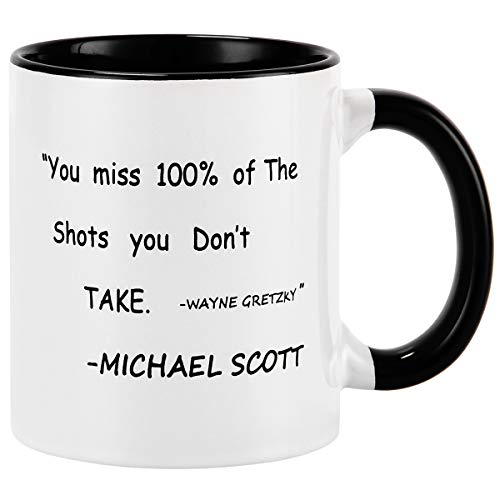 Romeooera Double Sided Coffee Mug, You Miss 100% of the Shots You Don't Take Funny Mug, 11Oz Ceramic Cup with Michael Scott Quote for Friends Kids Adults as Festival Birthday Gifts (We Miss 100 Percent Of The Shots)