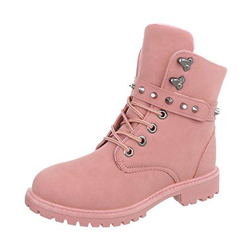 Ital-Design Schnürstiefeletten Damenschuhe Schnürstiefeletten Blockabsatz Schnürer Schnürsenkel Stiefeletten Pink