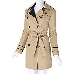 Kate Kasin Women's Khaki Double Breasted Long Trench Coat With Belt KK476-1