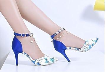 XINJING S Women Rhinestone High Heels Wedding Sandals Pointed Toe Stilettos Shoes Size Blue