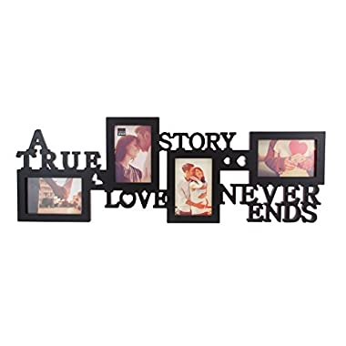 Kiera Grace Collage Picture Frame, 10 by 30 Inch Holds 4- 4 by 6 Inch Photos, Black, True Love