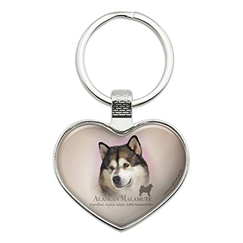 Alaskan Malamute Dog Breed Heart Love Metal Keychain Key Chain Ring ()