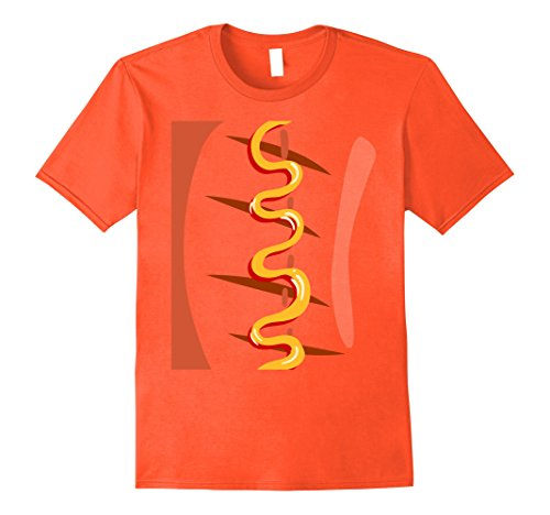 Mens Weiner Hotdog Costume T-shirt Funny Sausage Mayonnaise XL Orange - French's Mustard Costume