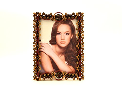 Ciel Collectables Tereza Picture Frame, Light & Dark Topaz Swarovski Crystal, Brown Enamel Over Pewter, Copper Plating, Stylish Brown Color Silk Back Have Two Way Easel, Holds 5 x 5, 5 x 7 Pictures