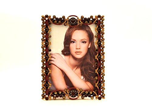 (Ciel Collectables Tereza Picture Frame, Light & Dark Topaz Swarovski Crystal, Brown Enamel Over Pewter, Copper Plating, Stylish Brown Color Silk Back Have Two Way Easel, Holds 5 x 5,)