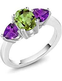 2.13 Ct Oval Green Peridot and Purple Amethyst 925 Sterling Silver 3 Stone Ring