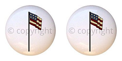 SET OF 2 KNOBS - USA Flag Design #001 - Americana by CCL - DECORATIVE Glossy CERAMIC Cupboard Cabinet PULLS Dresser Drawer - Usa 001