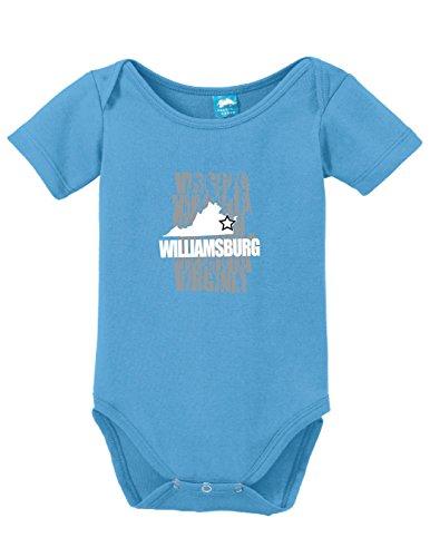 Williamsburg Virginia Printed Infant Bodysuit Baby Romper Light Blue 12-18 - Williamsburg 16 Light