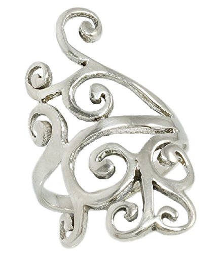 Sterling Silver Looped Wide Ring Size (Wide Filigree Swirl Ring)