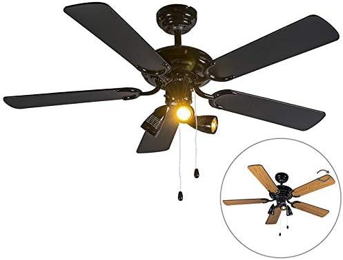 QAZQA Ventilateur de plafond noir Mistral 42 BoisAcier