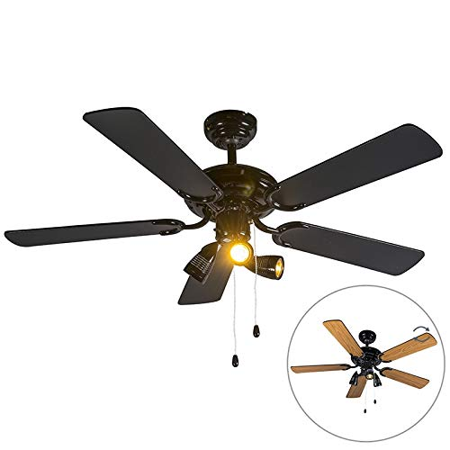 QAZQA Modern Ceiling fan with light Mistral 42 Black Wood / / Round Suitable for LED GU10 Max. 3 x 50 Watt / 3-way/Indoor Lighting/Lights / Lamps/Living room/Bedroom / Kitchen