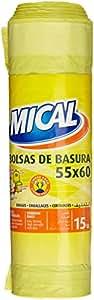 Mical - Bolsas de basura - 55x60 , color amarillo - 15 unidades