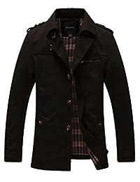 Wantdo Men's Cotton Single Breasted Trench Jacket US Large Black