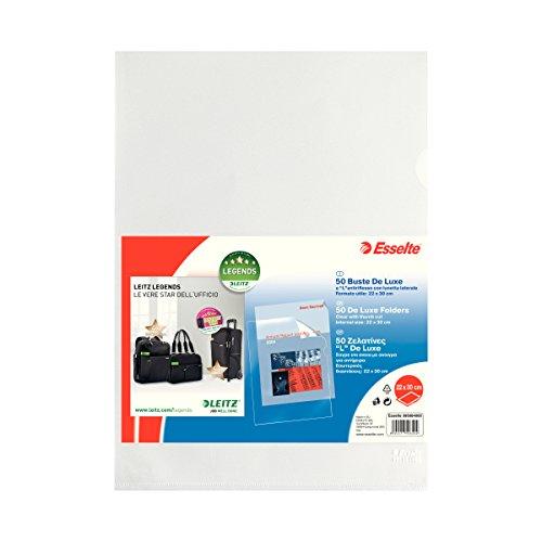 Esselte Envelopes A L Copy Safe de Luxe, Transparent, 22x 30cm, Format Document Holder, Folio in PP 50 envelopes PP antiriflesso - Esselte Holder