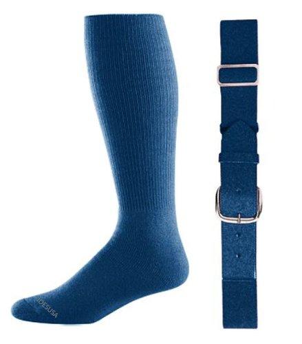 Joe's USA - Baseball Socks & Belt Combo Set Colors Available (Navy, Youth (7-9)) - Navy Blue Youth Arch