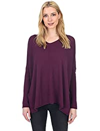Women's Cashmere Wool Long Sleeve Loose Oversized Pullover V Neck Sweater