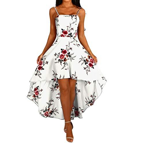 Women Strappy Dresses, BOLUBILUY Beach Swing Irregular Tuxed Dress Boho Floral Print Skirt Loose Sleeveless Chiffon Tops