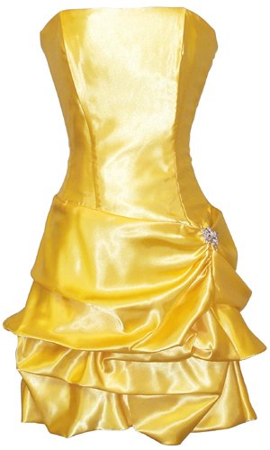Strapless Satin Bubble Dress Prom Formal Holiday Party Cocktail Gown Bridesmaid, Small, yellow