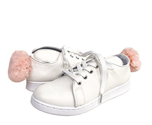Pantera 1! Kvinna Kanin Örat Snörning Plattform Pompom Sneakers Vita Konstläder
