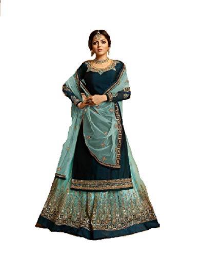 (Delisa Indian/Pakistani Ethnic wear Georgette Straight Salwar Kameez for Womens (Blue, MEDIUM-40))