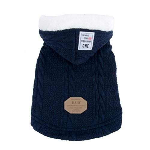 - Zunea Pet Hooded Sweater Coat for Small Dog Cat Classic Puppy Fleece Lined Pullover Knitwear Winter Warm Chihuahua Clothes Apparel Blue S