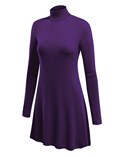 - CTC WT992 Womens Long Sleeve Turtleneck Sweater Tunic With Various Hem XL Purple