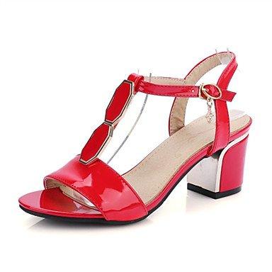 LvYuan Mujer-Tacón Robusto-Confort Innovador-Sandalias-Boda Vestido Informal Fiesta y Noche-Cuero Patentado Purpurina Materiales Personalizados- Red