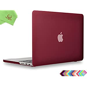 "UESWILL Matte Hard Shell Case Cover for MacBook Pro 13"" with Retina Display (No CD-ROM) (Model: A1502/A1425, Version Early 2015 / 2014 / 2013 / Late 2012), Wine Red"