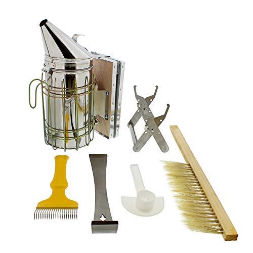 Rural365 Beekeeping Starter Kit Beekeeping Supplies and Equipment Honey Bee Smoker for Beekeeping 6pc Bee Keeper Set