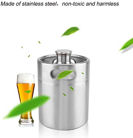 Beer Barrel, Mini Keg Style Growler Stainless Steel Beer Supplies Holds Beer Double Handles for Home Camping Picnic(2L)