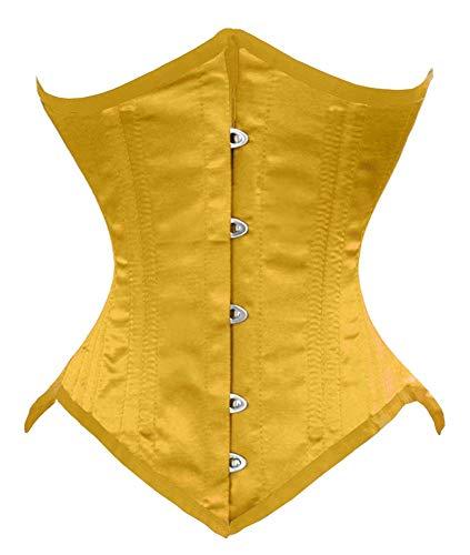 Luvsecretlingerie 26 Double Steel Boned Waist Training Satin Underbust Corset, Yellow, 2XL (For waist 36