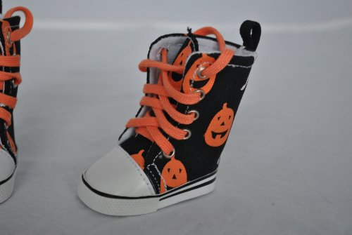 Unique Doll Clothing Pumpkin and Ghost Halloween High Top Tennis Shoes for American Girl Dolls and Most 18