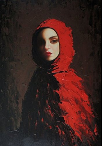 100% Hand Painted Young Woman Portrait Pretty Red Riding Hood & Cape Canvas Oil Painting for Home Wall Art by Well Known Artist, Framed, Ready to Hang