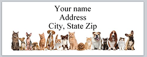 120 Personalized Return Address labels Dogs & Cats (ac 948)