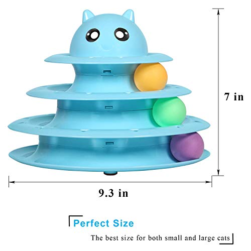 Upsky Cat Toy Roller Cat Toys 3 Level Towers Tracks Roller with Six Colorful Ball Interactive Kitten Fun Mental Physical Exercise Puzzle Toys … 3