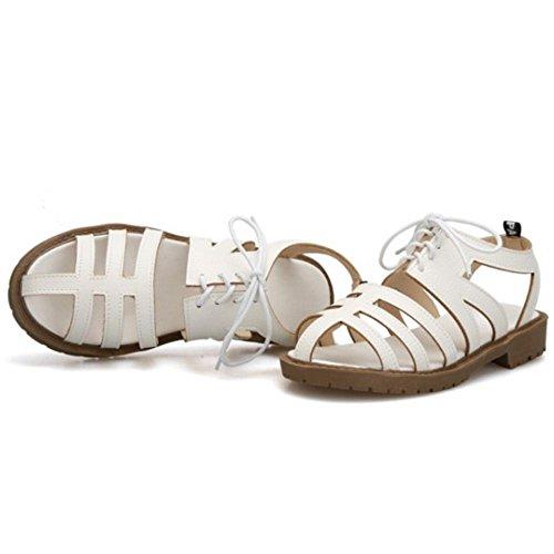 TAOFFEN Mujer Clasico Cordones Correas Sandalias Hueco Punta Abierta Verano Zapatos Blanco