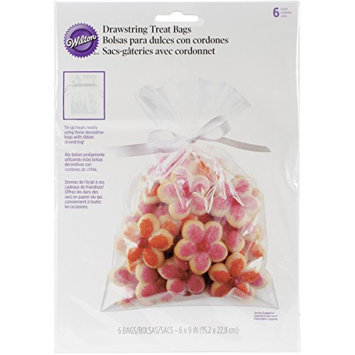 Wilton Drawstring (Wilton Clear Drawstring Treat Bags, 6 Count)
