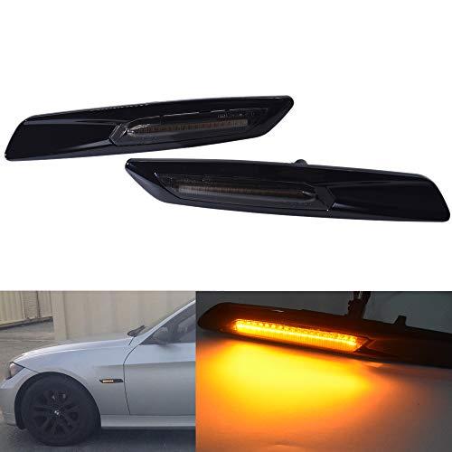 2pc Gloss Black Type & smoked Lens F10 Style E60 E61 LED Fender Side Marker Turn Signal Light for BMW 3 Series E90 E91 E92 E93 ()