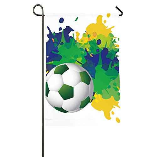 Brazil Football Pitch Vertical House Flag,Garden Flag,Home Flag,Indoor Flag  Yard Indoor & Outdoor Decoration 12x18inch & 18x27inch