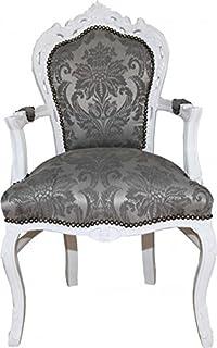 Stühle weiß antik  Casa Padrino Barock Esszimmer Stuhl mit Armlehnen Grau / Silber ...