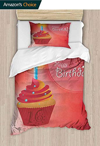 16th Birthday Bedspread Set Queen Size,Little Cupcake with Candlestick Greeting Message Romantic Print Print,Decorative Quilted 2 Piece Coverlet Set with 1 Pillow Shams, 59