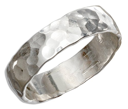 Sterling Silver 5mm Flat Hammered Wedding Band Ring (size 07)