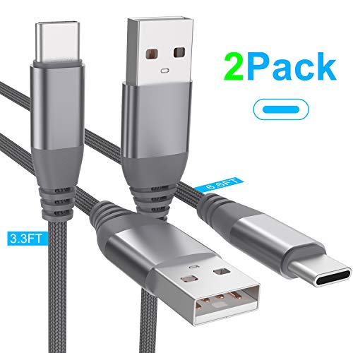 Squish USB Type C Cable (2 Pack/3.3ft&6.6 ft), USB C Cable Nylon Braided (USB 3.0) Fast Charging Charger Cable for Samsung S10 Plus S10e S9 S8 Note 8/9, Google Pixel, Nexus Nintendo Switch LG (Gray)