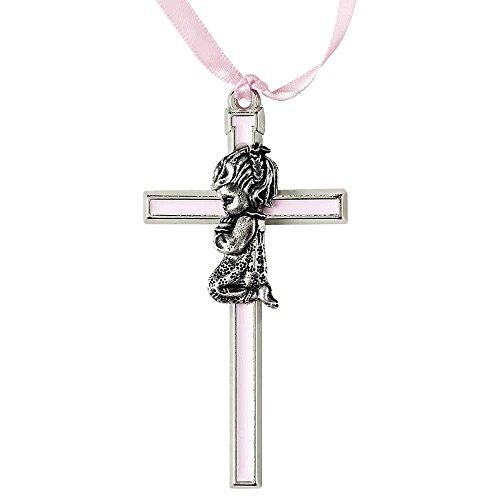 (Dicksons Praying Little Girl Pink Inlay 3.5 Inch Pewter Metal Crib Cross)