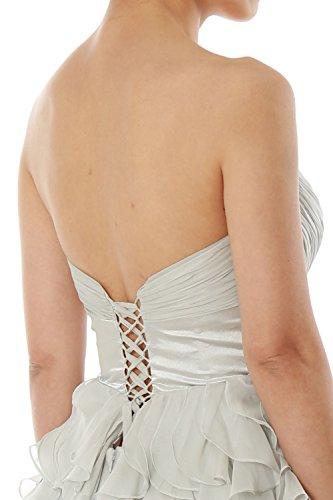 MACloth Women Strapless Chiffon Short Bridesmaid Dress Wedding Party Formal Gown Azul Marino Oscuro