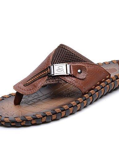 ShangYi Herren Sandaletten Herrenschuhe-Outddor / Lässig-Sandalen-Nappa Leather / Tüll-Schwarz / Braun Brown