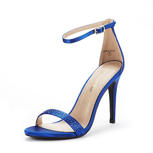 DREAM PAIRS Women's Karrie-Shine Royal Blue High Stiletto Pump Heel Sandals Size 7.5 B(M) ()