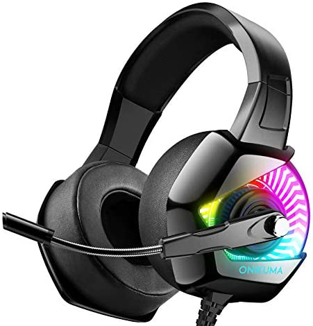 ONIKUMA Gaming Headset for PS4 with 7.1 Surround Sound & RGB LED Light,Xbox One Headset and Noise Canceling Headset with Microphone Compatible with PC/Mac/Nintendo Switch (Adapter Not Included)