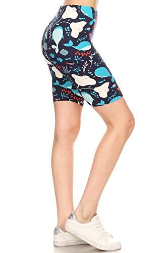 Leggings Depot LBKX-S746-3X Sea-tizens Affair Printed Biker Shorts, 3X Plus